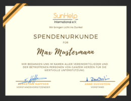 Spendenurkunde: Max Mustermann